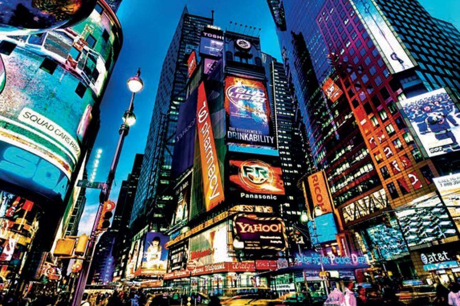Photo de Times Square, NY avec ses murs d'ecrans