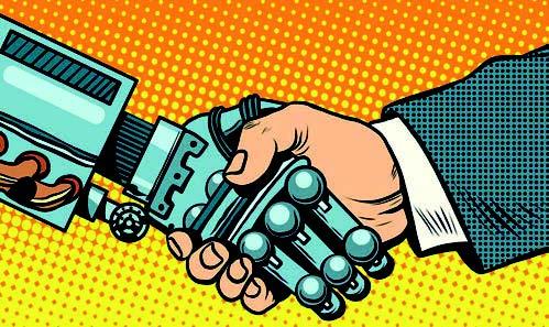 Poignée de main homme - machine