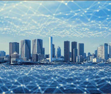 vue futuriste d'une ville intelligente