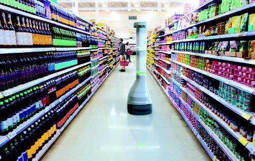Robot dans un rayon de supermarche