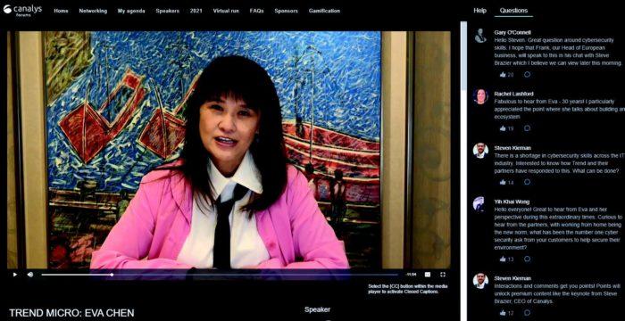 Eva Chen - Trend Micro - en visio conference - Canalys