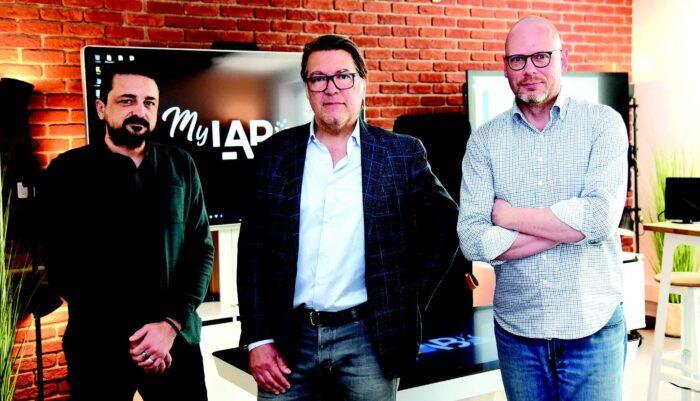 De g. à dr.) Vincent Fournet,directeur marketing, Jacques Vincent, président, et Michel Perrin, responsable MyLAb.